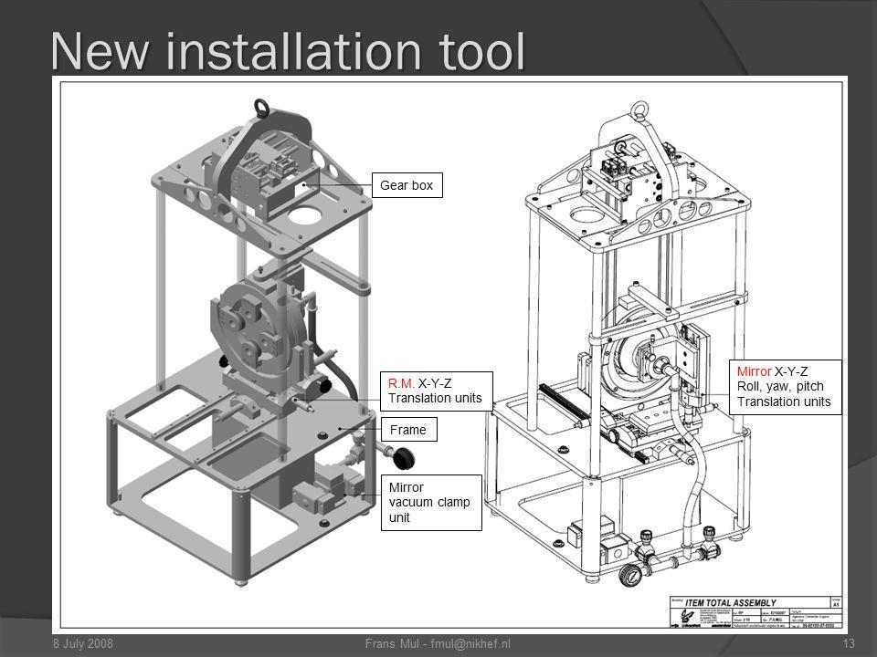 New installation tool Gear box R.M. X-Y-Z Translation units Mirror X-Y-Z Roll, yaw, pitch Translation units Frame Mirror vacuum clamp unit 13Frans Mul