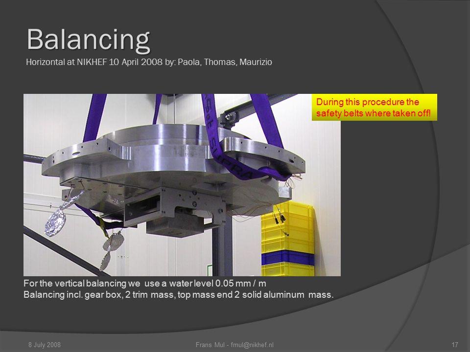 Balancing Balancing Horizontal at NIKHEF 10 April 2008 by: Paola, Thomas, Maurizio For the vertical balancing we use a water level 0.05 mm / m Balanci