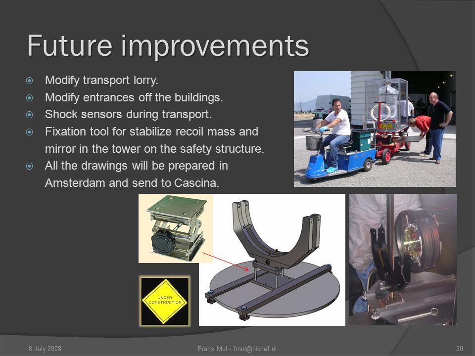 Future improvements 8 July 2008Frans Mul - fmul@nikhef.nl30  Modify transport lorry.  Modify entrances off the buildings.  Shock sensors during tra