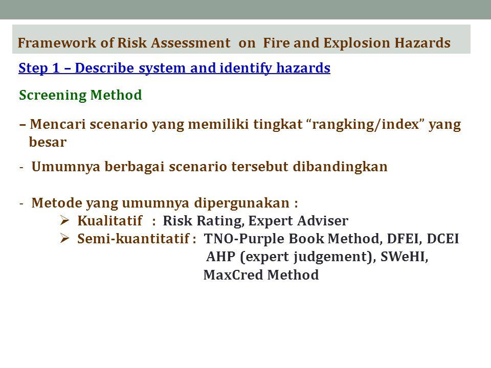 Framework of Risk Assessment on Fire and Explosion Hazards Step 1 – Describe system and identify hazards Screening Method – Mencari scenario yang memiliki tingkat rangking/index yang besar -Umumnya berbagai scenario tersebut dibandingkan -Metode yang umumnya dipergunakan :  Kualitatif : Risk Rating, Expert Adviser  Semi-kuantitatif : TNO-Purple Book Method, DFEI, DCEI AHP (expert judgement), SWeHI, MaxCred Method