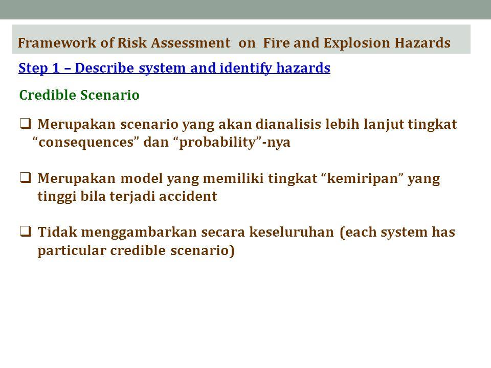 Framework of Risk Assessment on Fire and Explosion Hazards Step 1 – Describe system and identify hazards Credible Scenario  Merupakan scenario yang akan dianalisis lebih lanjut tingkat consequences dan probability -nya  Merupakan model yang memiliki tingkat kemiripan yang tinggi bila terjadi accident  Tidak menggambarkan secara keseluruhan (each system has particular credible scenario)