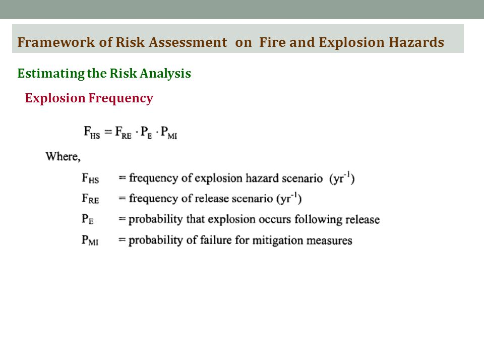 Framework of Risk Assessment on Fire and Explosion Hazards Estimating the Risk Analysis Explosion Frequency