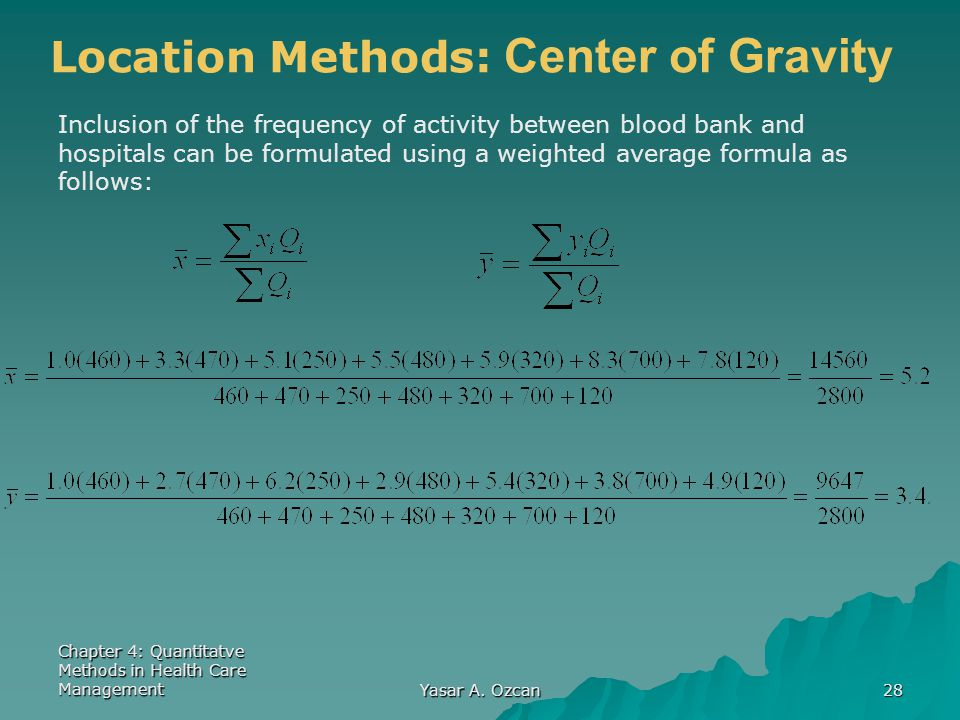 Chapter 4: Quantitatve Methods in Health Care Management Yasar A. Ozcan 28 Location Methods: Center of Gravity Inclusion of the frequency of activity