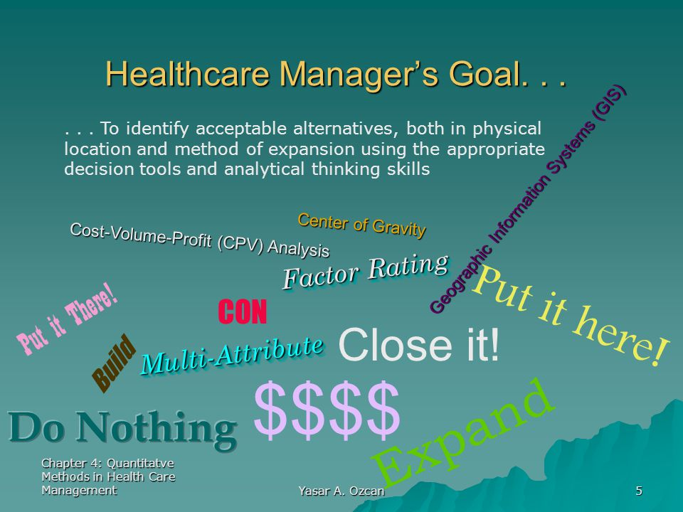 Chapter 4: Quantitatve Methods in Health Care Management Yasar A. Ozcan 5 $$$$ Healthcare Manager's Goal... Build Put it here! Put it There! Expand CO