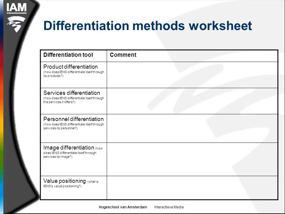 Hogeschool van Amsterdam Interactieve Media Differentiation methods worksheet Differentiation toolComment Product differentiation (how does IENS differentiate itself through its products ) Services differentiation (how does IENS differentiate itself through the services it offers ) Personnel differentiation (how does IENS differentiate itself through services its personnel ) Image differentiation (how does IENS differentiate itself through services its image ) Value positioning (what is IENS's value positioning )