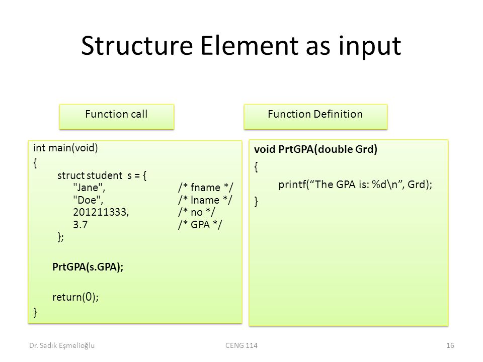 Structure Element as input Dr.