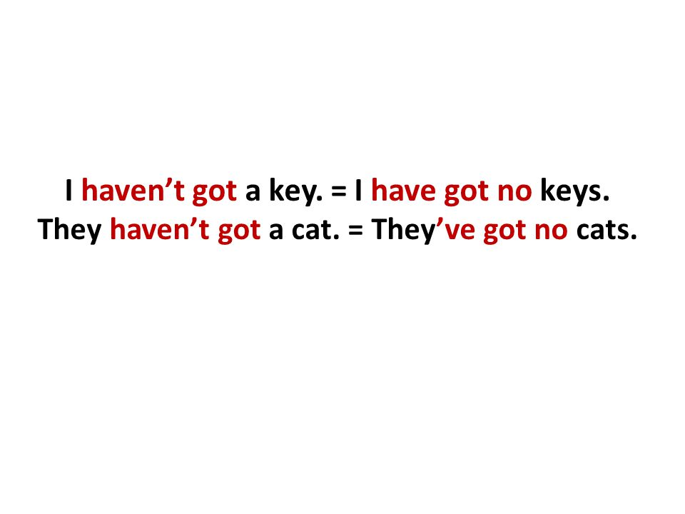 I haven't got a key. = I have got no keys. They haven't got a cat. = They've got no cats.