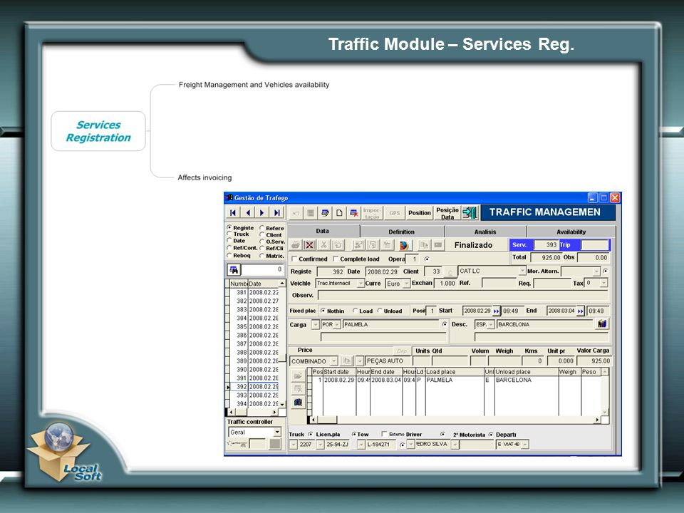 Traffic Module – Services Reg.