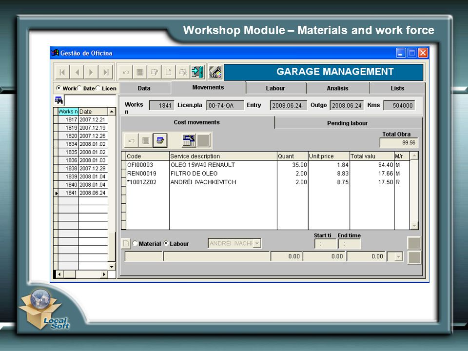 Workshop Module – Materials and work force