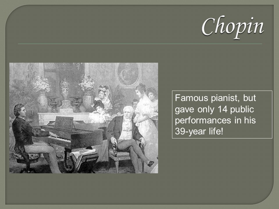 Famous pianist, but gave only 14 public performances in his 39-year life!