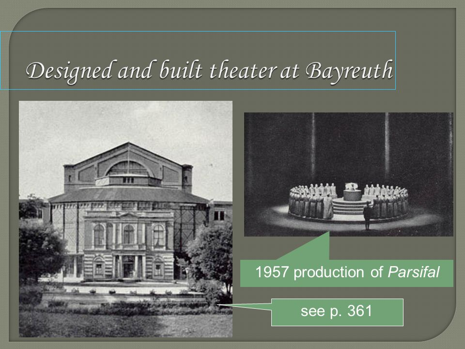 Designed and built theater at Bayreuth 1957 production of Parsifal see p. 361