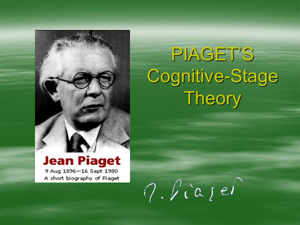 PIAGET'S Cognitive-Stage Theory