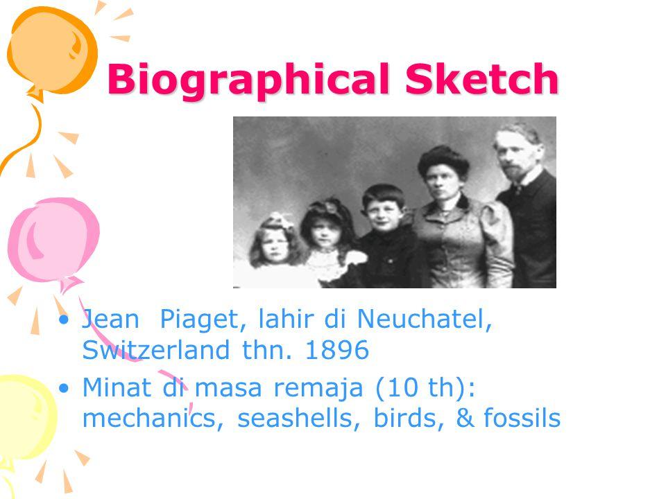 Biographical Sketch Jean Piaget, lahir di Neuchatel, Switzerland thn. 1896 Minat di masa remaja (10 th): mechanics, seashells, birds, & fossils