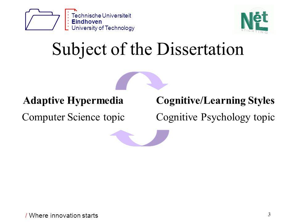 / Where innovation starts 1212 Technische Universiteit Eindhoven University of Technology 4 What is Adaptive Hypermedia (AH).