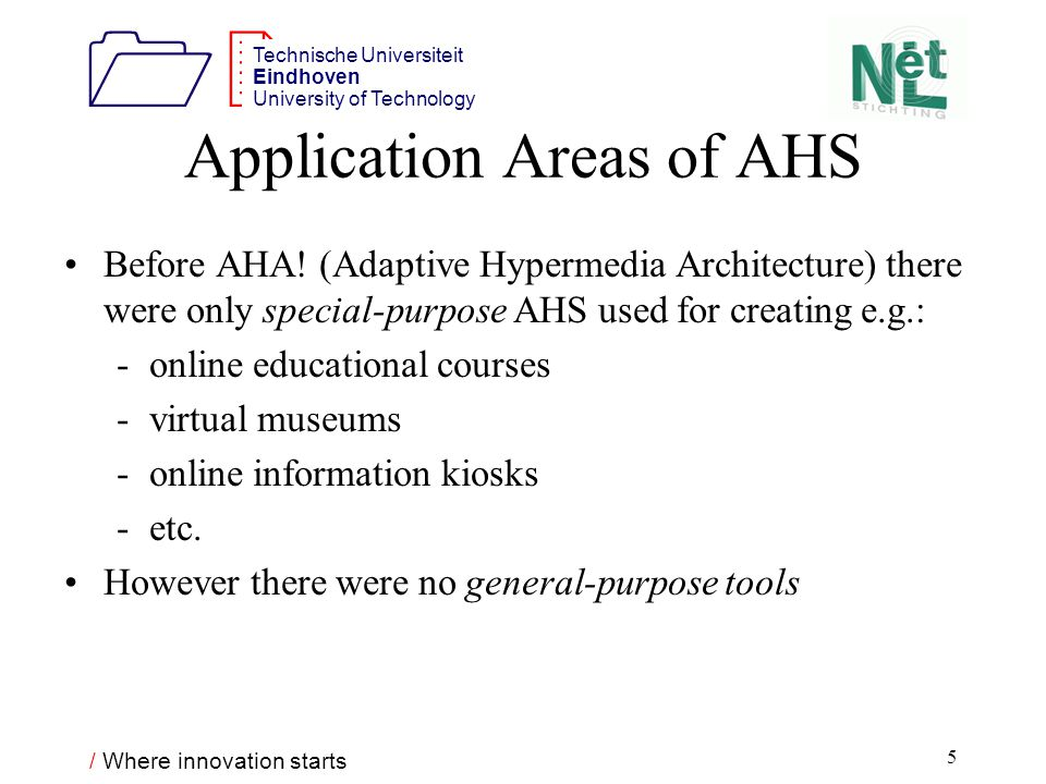/ Where innovation starts 1212 Technische Universiteit Eindhoven University of Technology 5 Application Areas of AHS Before AHA.