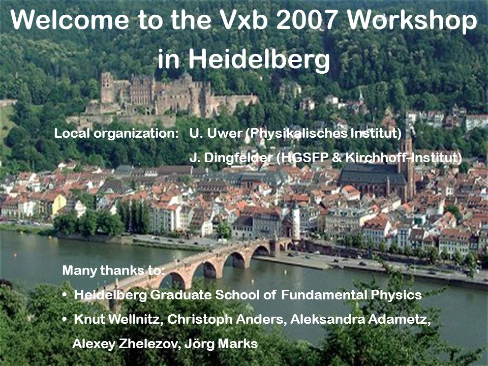 Welcome to the Vxb 2007 Workshop in Heidelberg Many thanks to: Heidelberg Graduate School of Fundamental Physics Knut Wellnitz, Christoph Anders, Aleksandra Adametz, Alexey Zhelezov, Jörg Marks Local organization: U.