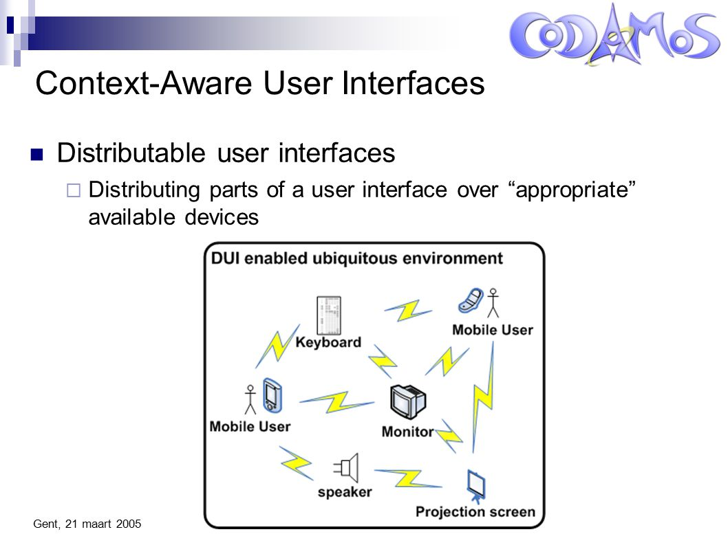 Gent, 21 maart 2005 Context-Aware User Interfaces Distributable user interfaces  Distributing parts of a user interface over appropriate available devices