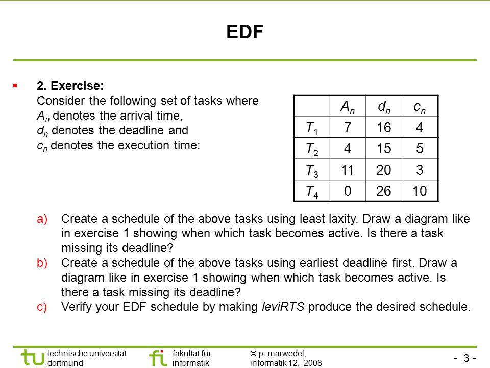 - 3 - technische universität dortmund fakultät für informatik  p. marwedel, informatik 12, 2008 TU Dortmund EDF  2. Exercise: Consider the following