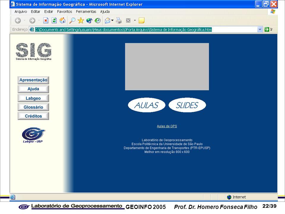 GEOINFO 2005 Prof. Dr. Homero Fonseca Filho 22/39