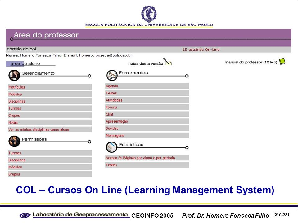 GEOINFO 2005 Prof. Dr. Homero Fonseca Filho 27/39 COL – Cursos On Line (Learning Management System)