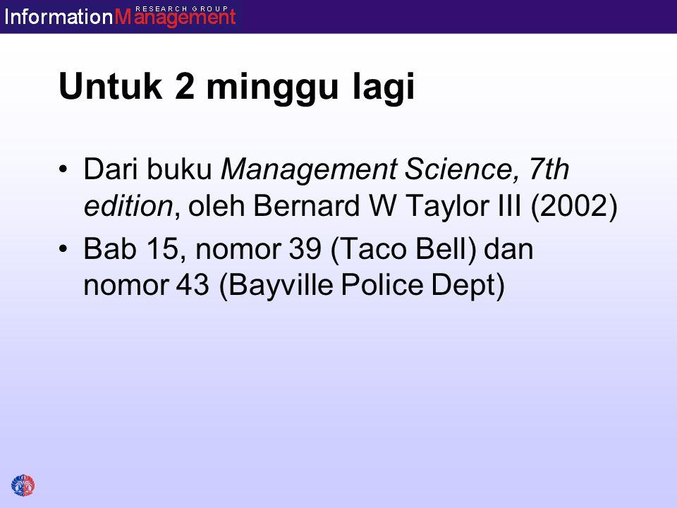 Untuk 2 minggu lagi Dari buku Management Science, 7th edition, oleh Bernard W Taylor III (2002) Bab 15, nomor 39 (Taco Bell) dan nomor 43 (Bayville Police Dept)