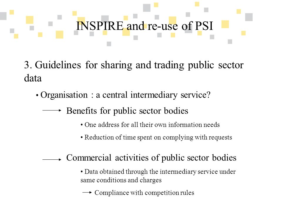 Transparante overheidsinformatie als competitief voordeel voor Vlaanderen INSPIRE and re-use of PSI 3. Guidelines for sharing and trading public secto