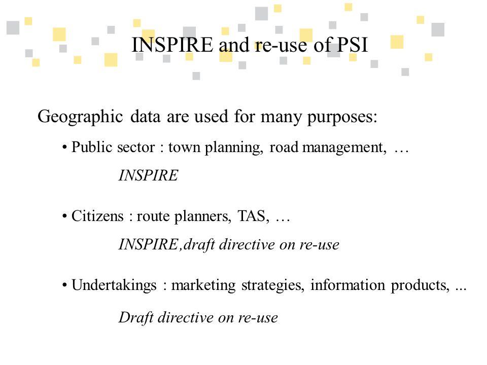 Transparante overheidsinformatie als competitief voordeel voor Vlaanderen INSPIRE and re-use of PSI How do INSPIRE and the draft directive on re- use of PSI relate?