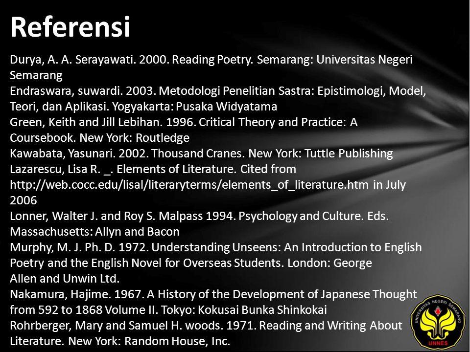 Referensi Durya, A. A. Serayawati. 2000. Reading Poetry.