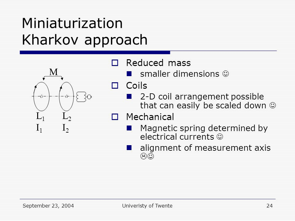 September 23, 2004Univeristy of Twente24 L1I1L1I1 L2I2L2I2 M Miniaturization Kharkov approach  Reduced mass smaller dimensions  Coils 2-D coil arrangement possible that can easily be scaled down  Mechanical Magnetic spring determined by electrical currents alignment of measurement axis 