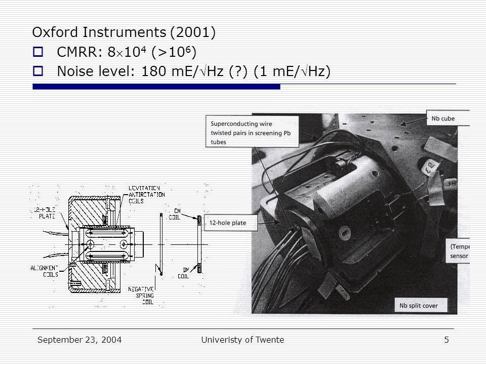 September 23, 2004Univeristy of Twente5 Oxford Instruments (2001)  CMRR: 810 4 (>10 6 )  Noise level: 180 mE/Hz ( ) (1 mE/Hz)
