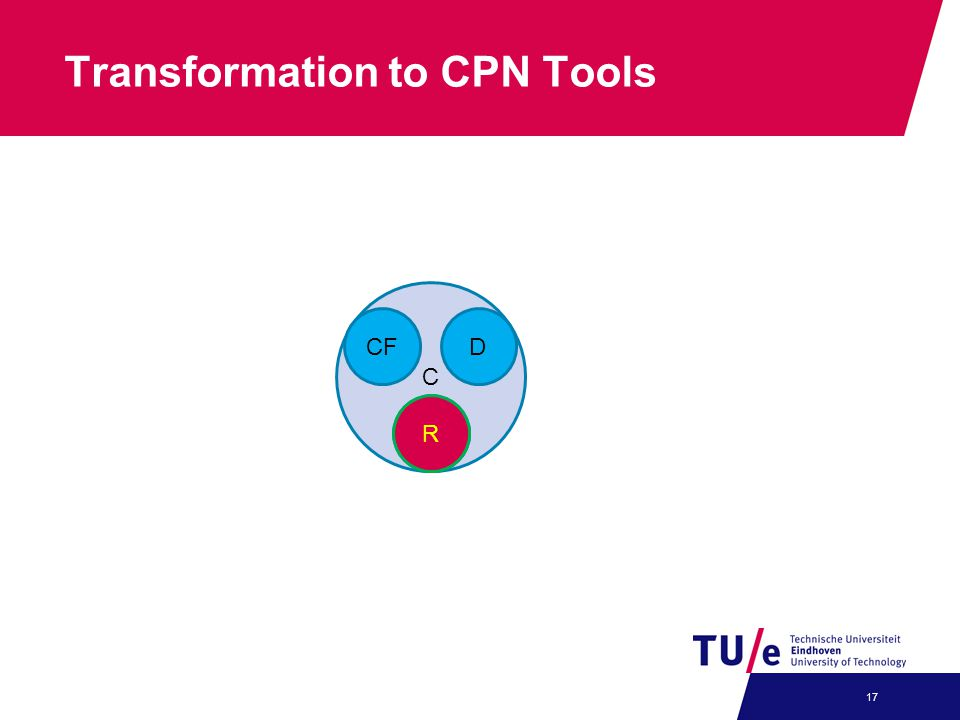 Transformation to CPN Tools 17 C CFD RR