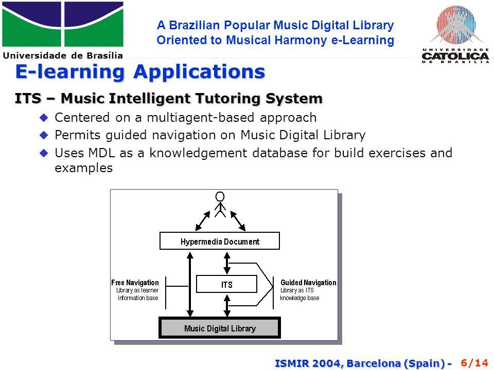 Universidade de Brasília A Brazilian Popular Music Digital Library Oriented to Musical Harmony e-Learning ISMIR 2004, Barcelona (Spain) - Our Music Digital Library Flor Amorosa...