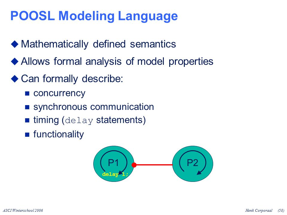 ASCI Winterschool 2006Henk Corporaal(58) POOSL Modeling Language  Mathematically defined semantics  Allows formal analysis of model properties  Can formally describe: concurrency synchronous communication timing ( delay statements) functionality P1P2 delay 1;