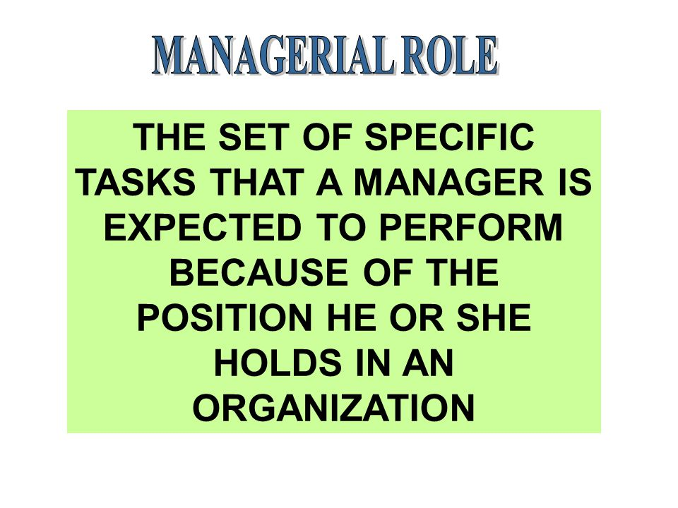 THE SET OF SPECIFIC TASKS THAT A MANAGER IS EXPECTED TO PERFORM BECAUSE OF THE POSITION HE OR SHE HOLDS IN AN ORGANIZATION