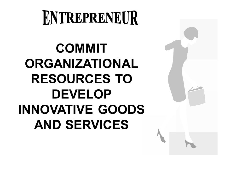 COMMIT ORGANIZATIONAL RESOURCES TO DEVELOP INNOVATIVE GOODS AND SERVICES