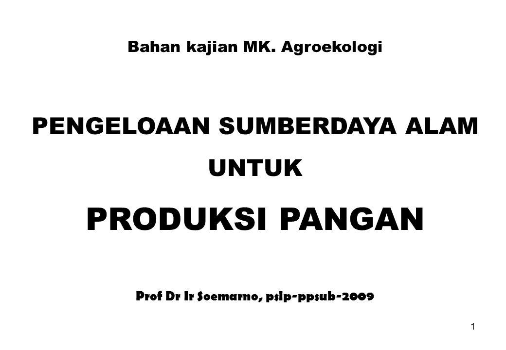 1 Bahan kajian MK. Agroekologi PENGELOAAN SUMBERDAYA ALAM UNTUK PRODUKSI PANGAN Prof Dr Ir Soemarno, pslp-ppsub-2009