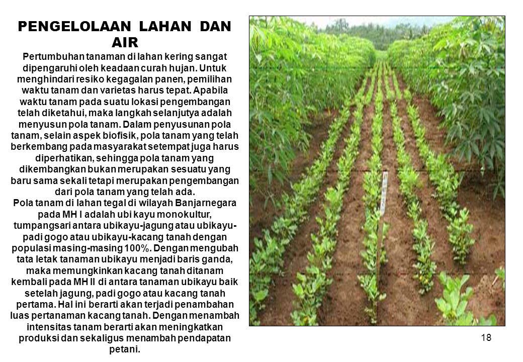 18 PENGELOLAAN LAHAN DAN AIR Pertumbuhan tanaman di lahan kering sangat dipengaruhi oleh keadaan curah hujan. Untuk menghindari resiko kegagalan panen
