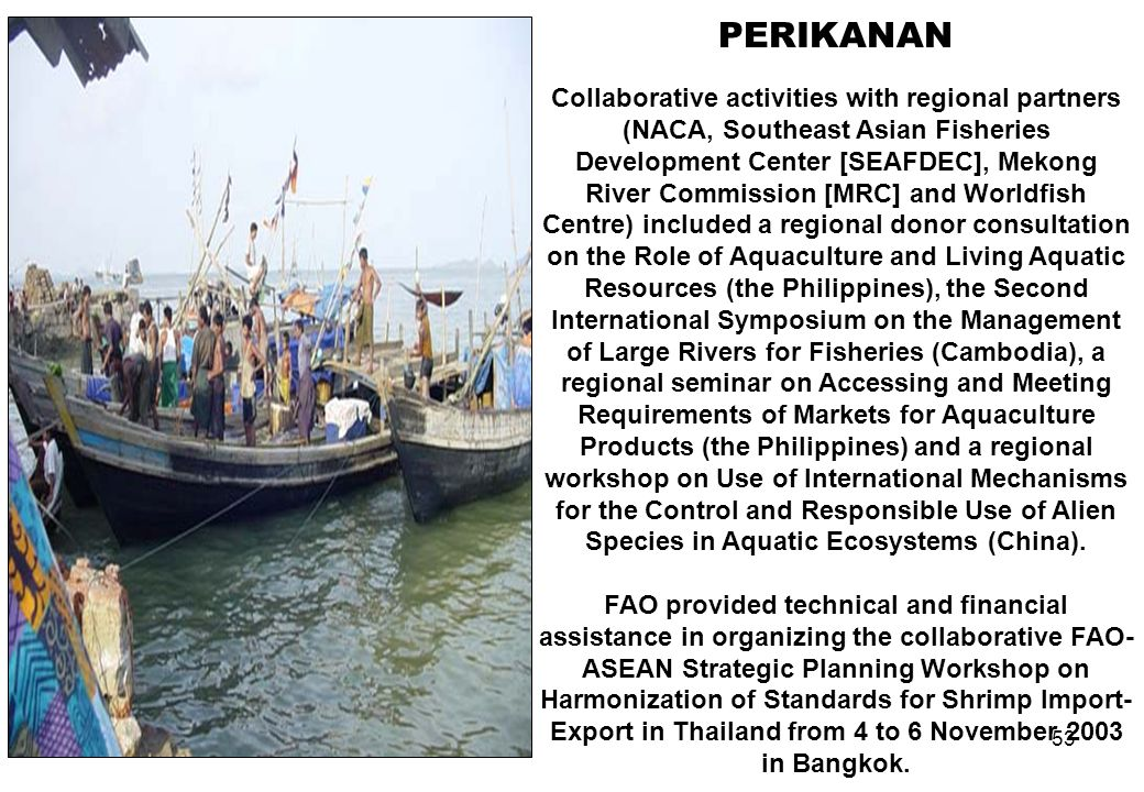 53 PERIKANAN Collaborative activities with regional partners (NACA, Southeast Asian Fisheries Development Center [SEAFDEC], Mekong River Commission [M