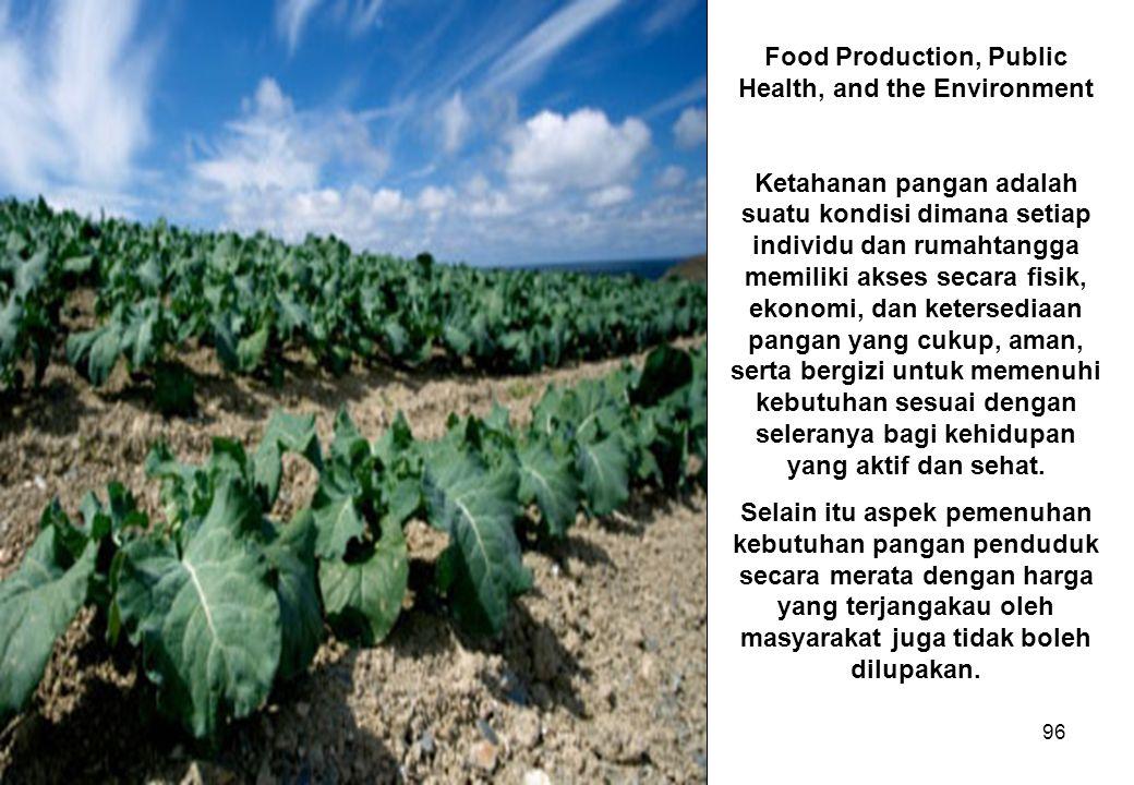 96 Food Production, Public Health, and the Environment Ketahanan pangan adalah suatu kondisi dimana setiap individu dan rumahtangga memiliki akses sec