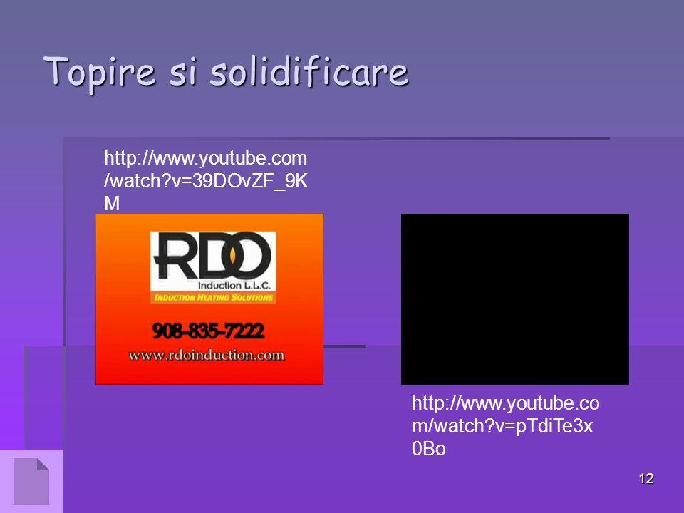 12 Topire si solidificare http://www.youtube.com /watch?v=39DOvZF_9K M http://www.youtube.co m/watch?v=pTdiTe3x 0Bo