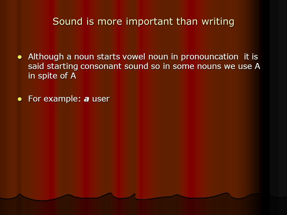Sound is more important than writing Although a noun starts vowel noun in pronouncation it is said starting consonant sound so in some nouns we use A in spite of A Although a noun starts vowel noun in pronouncation it is said starting consonant sound so in some nouns we use A in spite of A For example: a user For example: a user