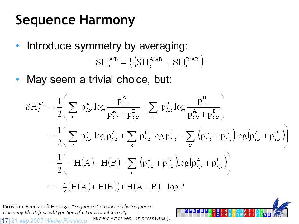 [17] 21 sep 2007 Walter Pirovano CENTRFORINTEGRATIVE BIOINFORMATICSVU E Sequence Harmony Introduce symmetry by averaging: May seem a trivial choice, but: Pirovano, Feenstra & Heringa.