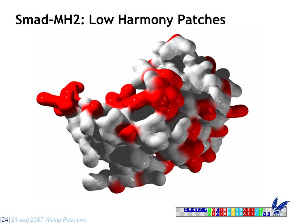 [24] 21 sep 2007 Walter Pirovano CENTRFORINTEGRATIVE BIOINFORMATICSVU E Smad-MH2: Low Harmony Patches
