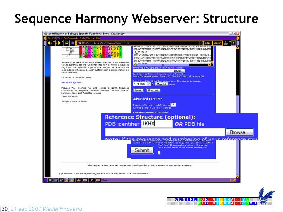 [30] 21 sep 2007 Walter Pirovano CENTRFORINTEGRATIVE BIOINFORMATICSVU E Sequence Harmony Webserver: Structure