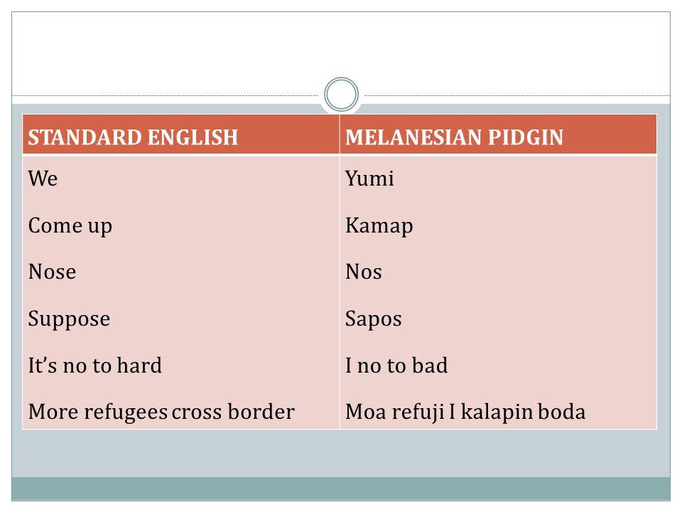 STANDARD ENGLISHMELANESIAN PIDGIN We Come up Nose Suppose It's no to hard More refugees cross border Yumi Kamap Nos Sapos I no to bad Moa refuji I kal
