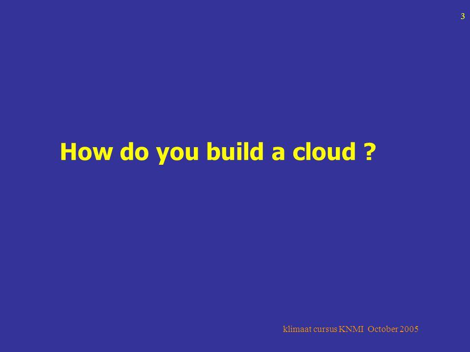 klimaat cursus KNMI October 2005 3 How do you build a cloud
