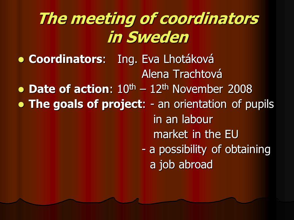 The meeting of coordinators in Sweden Coordinators: Ing.