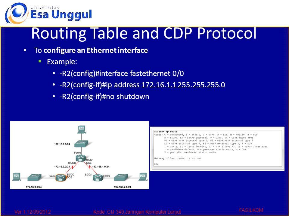 Ver 1,12/09/2012Kode :CIJ 340,Jaringan Komputer Lanjut FASILKOM Routing Table and CDP Protocol To configure an Ethernet interface  Example: -R2(config)#interface fastethernet 0/0 -R2(config-if)#ip address 172.16.1.1 255.255.255.0 -R2(config-if)#no shutdown