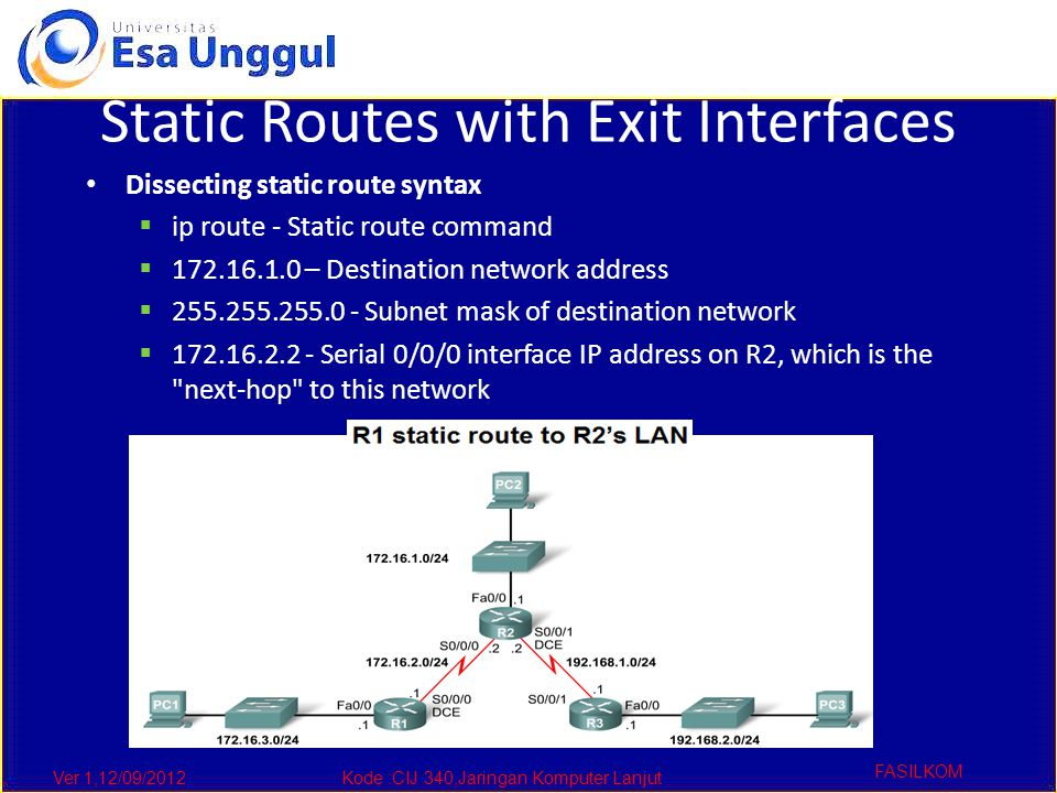 Ver 1,12/09/2012Kode :CIJ 340,Jaringan Komputer Lanjut FASILKOM Static Routes with Exit Interfaces Dissecting static route syntax  ip route - Static route command  172.16.1.0 – Destination network address  255.255.255.0 - Subnet mask of destination network  172.16.2.2 - Serial 0/0/0 interface IP address on R2, which is the next-hop to this network