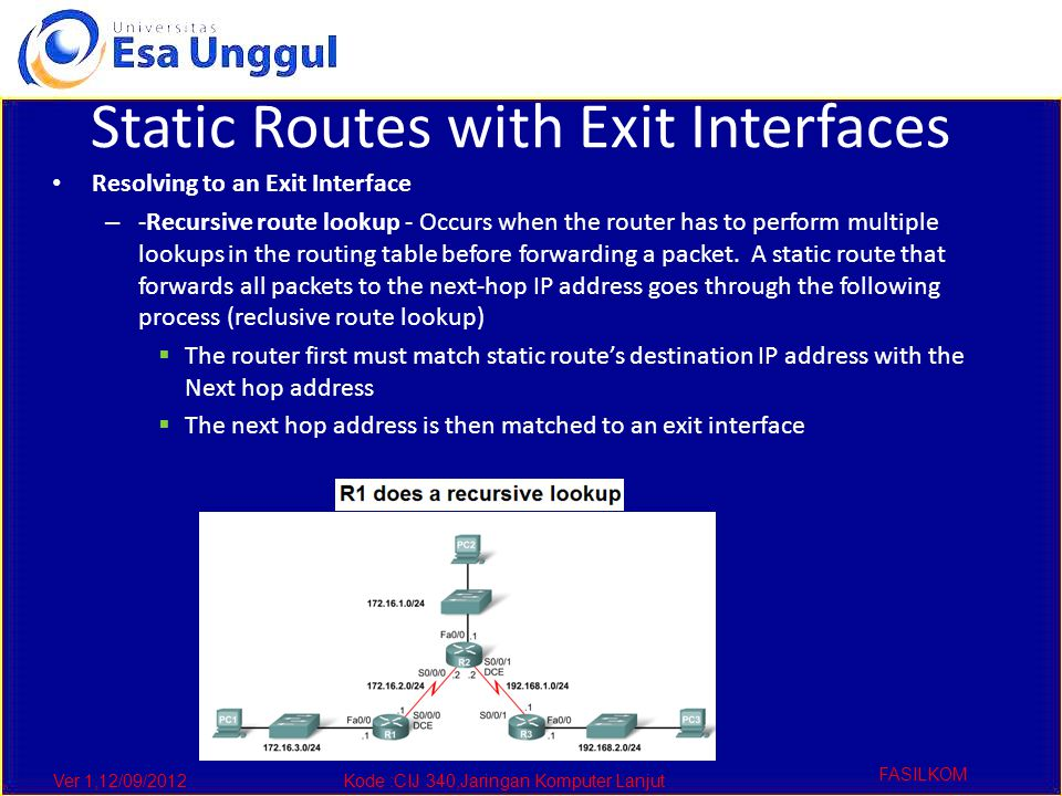 Ver 1,12/09/2012Kode :CIJ 340,Jaringan Komputer Lanjut FASILKOM Static Routes with Exit Interfaces Resolving to an Exit Interface – -Recursive route lookup - Occurs when the router has to perform multiple lookups in the routing table before forwarding a packet.